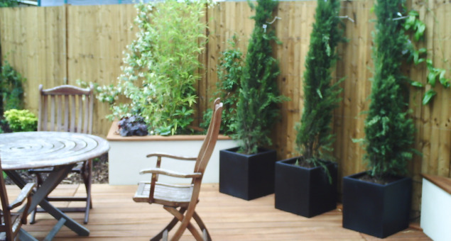 An alternative seating area was created towards the rear of the garden, screened from neighbours with tall planting.