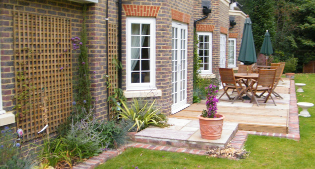 Soft planting and communal patio space