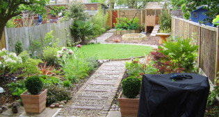 after image of long thin suburban garden