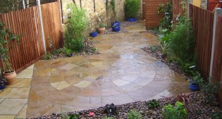 after image of the paved courtyard garden