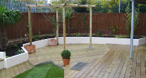 Decking entertainment area in an urban garden