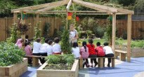 outdoor classroom with raised beds for fruit and vegetables