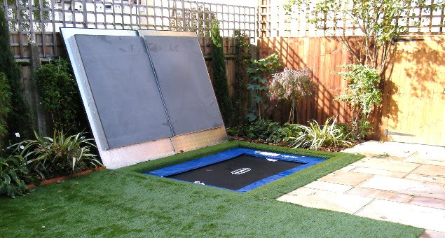 The real 'pièce de resistance' is the concealed trampoline which is underneath the artificial lawn. It has a bespoke lid, exclusively designed by Floral and Hardy, which means that it can easily be lifted and secured for children to play, and closed again when not in use, to seamlessly become part of the lawn once more.