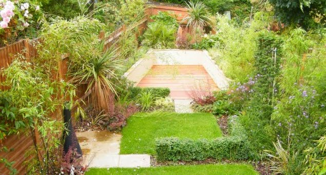 The back garden was given a contemporary makeover with a design which helps counteract the long, narrow shape by introducing a series of squares and rectangles, making the garden appear wider.