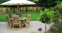 image of a large family garden traditional design with contemporary finish