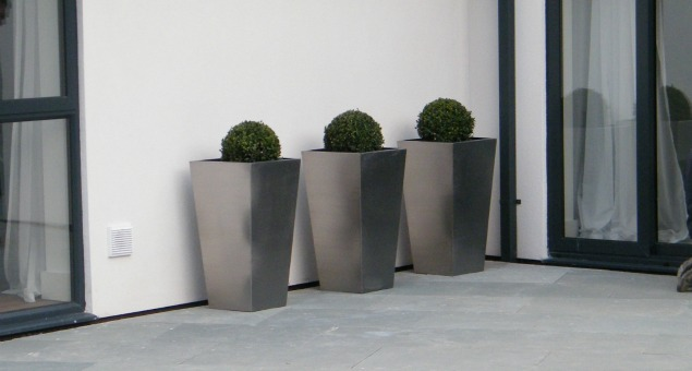 Formal stainess steel pots with box spheres