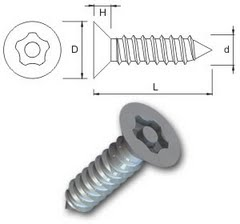 TR Security Self Tapping Screws Type 5 Countersunk Head