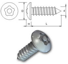 TR Security Self Tapping Screws Type 5 Button Head