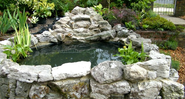 A new pond was built with an organic shape and slightly raised. It was constructed using some of the water-riven limestone the owners already had on site