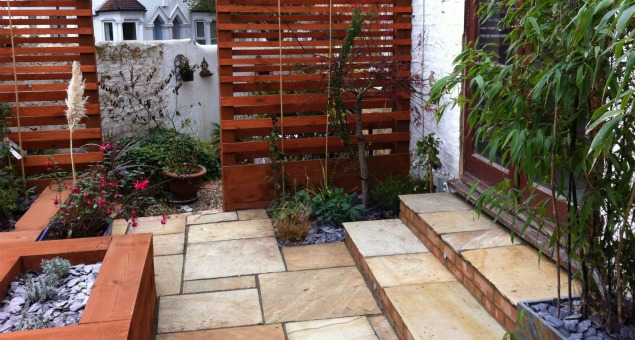 The paving we used is riven sandstone to give a non-slip, natural feel