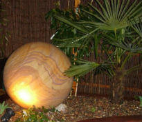 picture of lit sandstone sphere