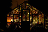 picture of a greenhouse at night