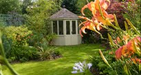 Small cottage garden with gazebo