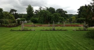 image across the croquet lawn to the new retaining wall