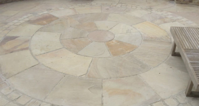 Close up of the circle detail with matching sett surround