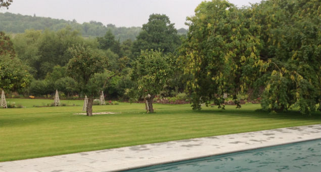 View back to the croquet lawn from the pool