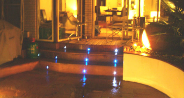 The decking steps are picked out by blue LED lights both for safety and for effect.