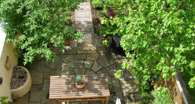 Looking down into the new garden