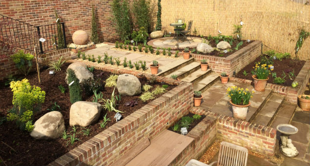 Tiered terrace garden with varied planting