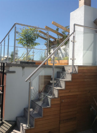 image of composite stairs with glass balustrade