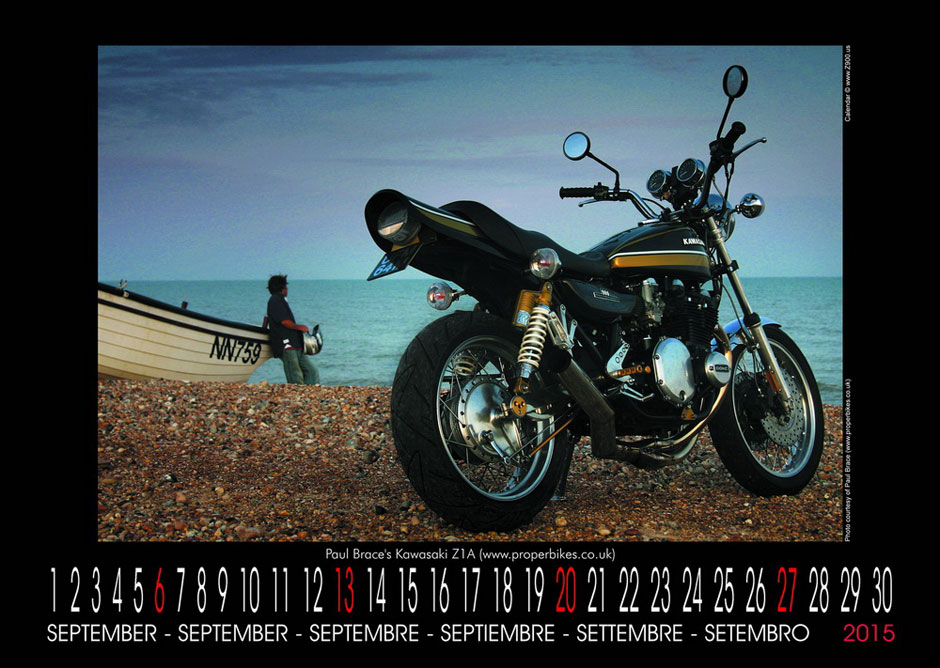 The Paul Brace modified Kawasaki Z1 calendar entry for Z900.us