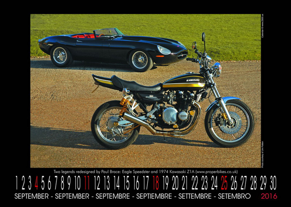 Paul Brace's Kawasaki Z1A features in the Z900 2016 Calendar alongside the Eagle E-Type Speedster