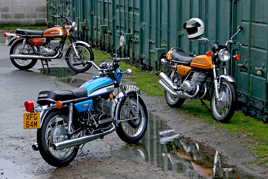 Yamaha RD250, Suzuki GT250 and Kawasaki KH250 all from 1973 and for sale from Proper Bikes Classic Motorcycles in the UK