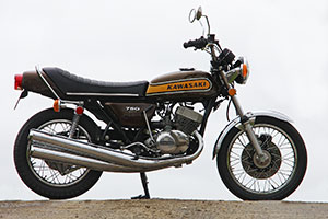 1974 Kawasaki H2B 750 in the best possible un-restored condition with just 10,000 miles from new. For sale from Proper Bikes UK