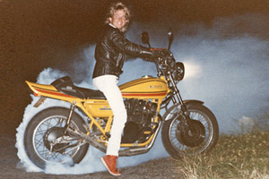 Paul Brace of Proper Bikes back in the day with his first Kawasaki Z1A - also modified.